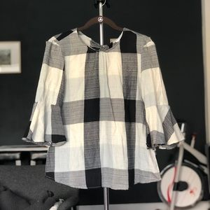 NWT RO&DE Plaid Bow Back Blouse - XS